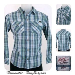 Boys M LUCKY Shirt Plaid Pre to Teen Age